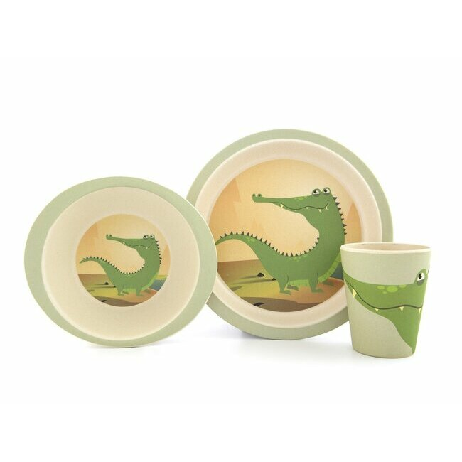 Bamboo feeding set - Crocodile
